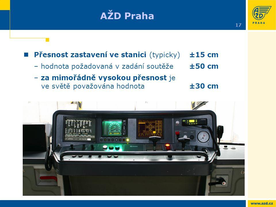 Přesnost zastavení ve stanici (typicky)±15 cm – hodnota požadovaná v zadání soutěže ±50 cm – za mimořádně vysokou přesnost je ve světě považována hodn