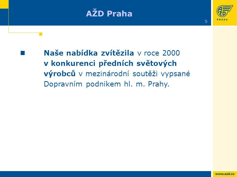 Naše nabídka zvítězila v roce 2000 v konkurenci předních světových výrobců v mezinárodní soutěži vypsané Dopravním podnikem hl. m. Prahy. AŽD Praha 5