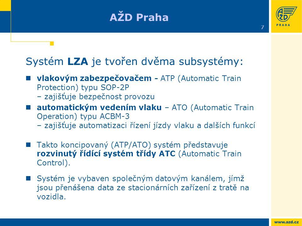 Systém LZA je tvořen dvěma subsystémy: vlakovým zabezpečovačem - ATP (Automatic Train Protection) typu SOP-2P – zajišťuje bezpečnost provozu automatic