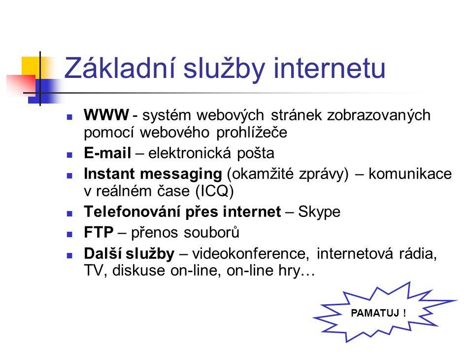 Základní služby internetu WWW - systém webových stránek zobrazovaných pomocí webového prohlížeče E-mail – elektronická pošta Instant messaging (okamžité zprávy) – komunikace v reálném čase (ICQ) Telefonování přes internet – Skype FTP – přenos souborů Další služby – videokonference, internetová rádia, TV, diskuse on-line, on-line hry… PAMATUJ !