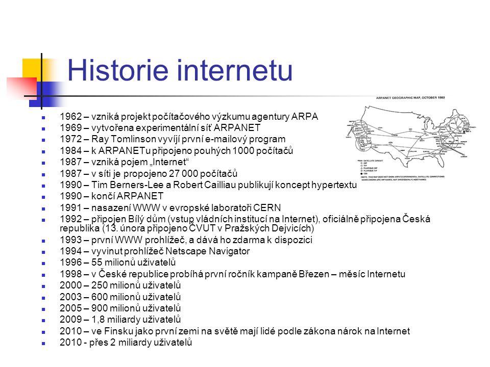 """Historie internetu 1962 – vzniká projekt počítačového výzkumu agentury ARPA 1969 – vytvořena experimentální síť ARPANET 1972 – Ray Tomlinson vyvíjí první e-mailový program 1984 – k ARPANETu připojeno pouhých 1000 počítačů 1987 – vzniká pojem """"Internet 1987 – v síti je propojeno 27 000 počítačů 1990 – Tim Berners-Lee a Robert Cailliau publikují koncept hypertextu 1990 – končí ARPANET 1991 – nasazení WWW v evropské laboratoři CERN 1992 – připojen Bílý dům (vstup vládních institucí na Internet), oficiálně připojena Česká republika (13."""