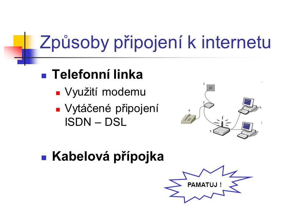 Způsoby připojení k internetu Telefonní linka Využití modemu Vytáčené připojení ISDN – DSL Kabelová přípojka PAMATUJ !