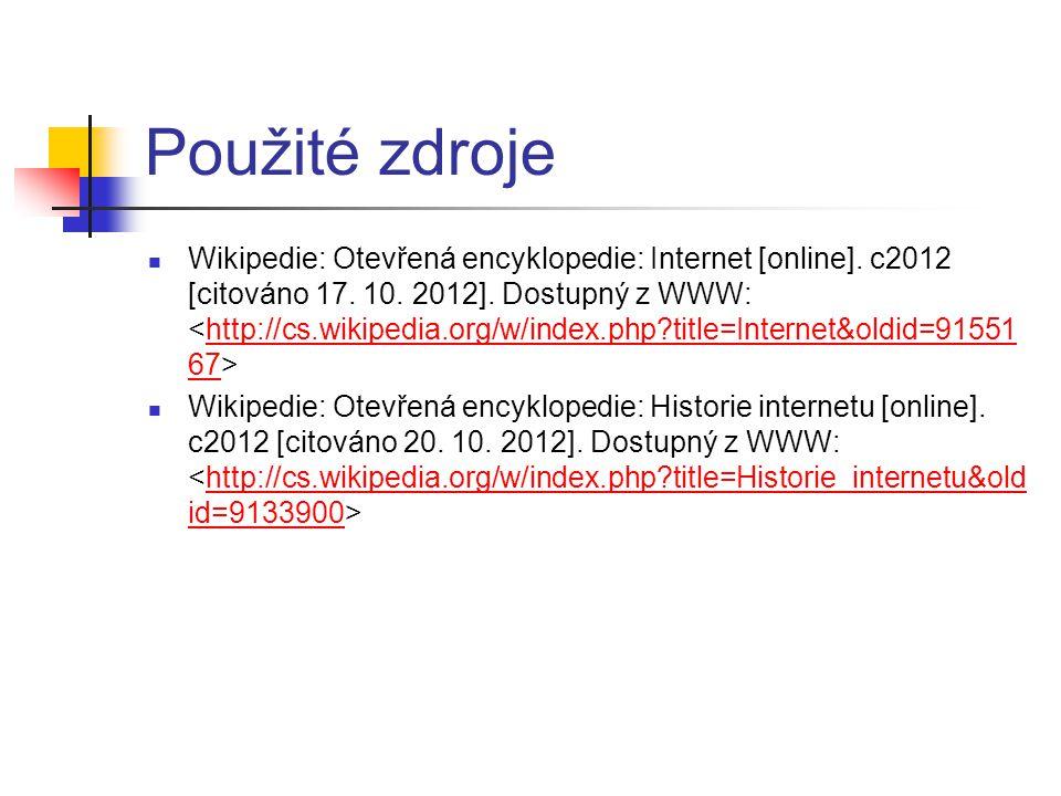 Použité zdroje Wikipedie: Otevřená encyklopedie: Internet [online].