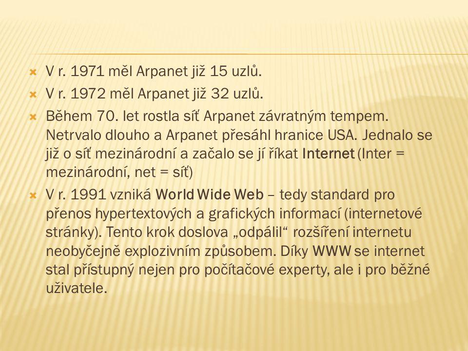  V r. 1971 měl Arpanet již 15 uzlů.  V r. 1972 měl Arpanet již 32 uzlů.  Během 70. let rostla síť Arpanet závratným tempem. Netrvalo dlouho a Arpan