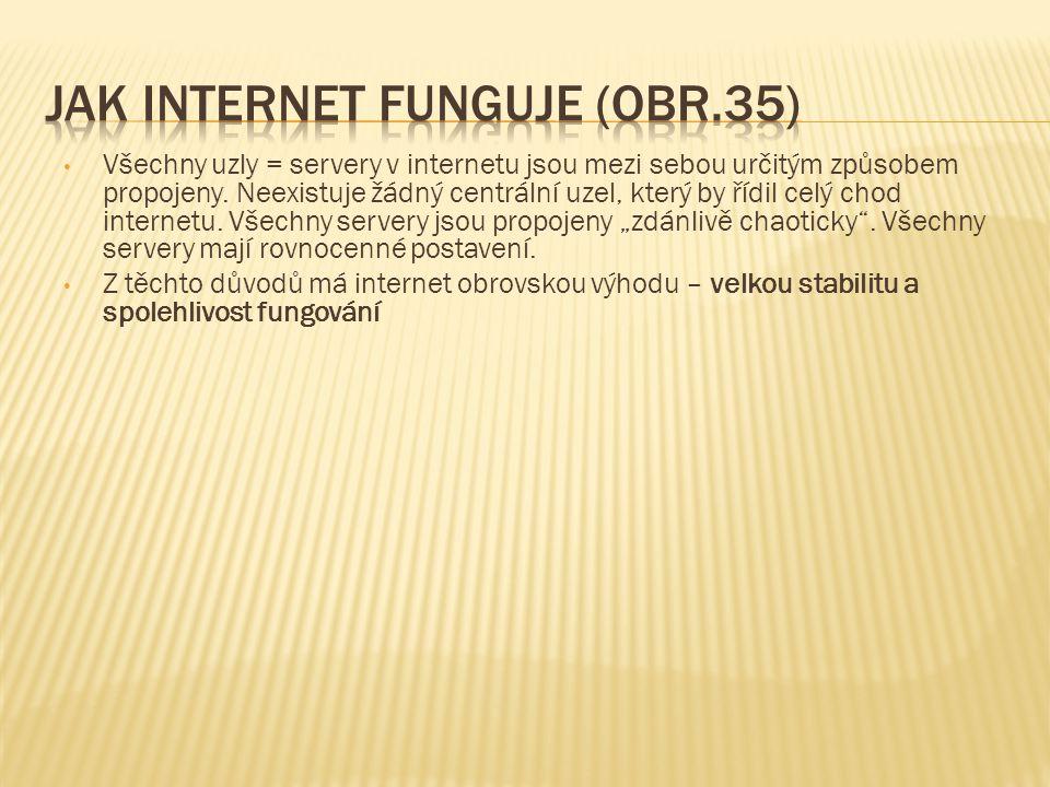 Všechny uzly = servery v internetu jsou mezi sebou určitým způsobem propojeny. Neexistuje žádný centrální uzel, který by řídil celý chod internetu. Vš