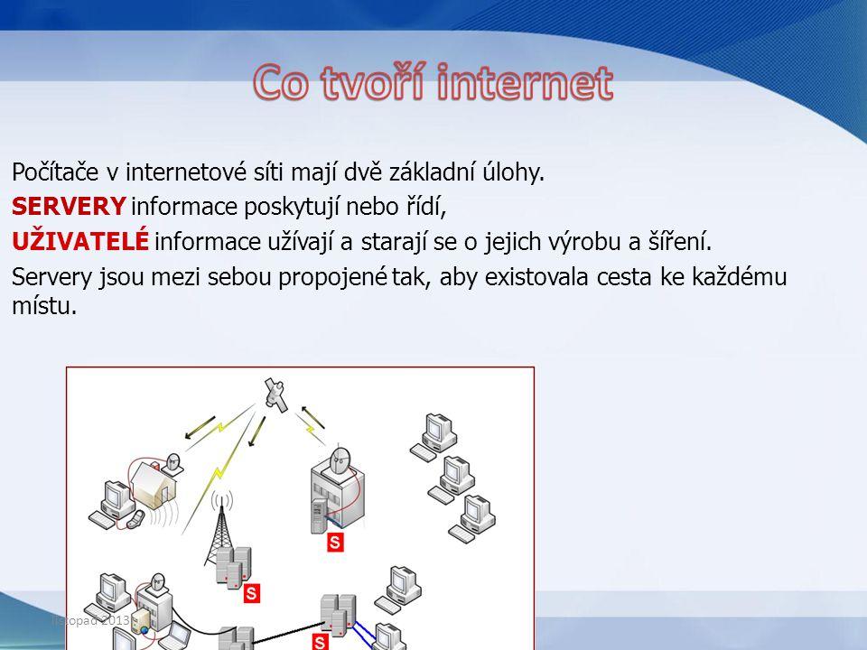 PROHLÍŽEČ – je program nainstalovaný v počítači, pomocí kterého si prohlížíte internetové stránky VYHLEDÁVAČ – je konkrétní internetová stránka listopad 2013