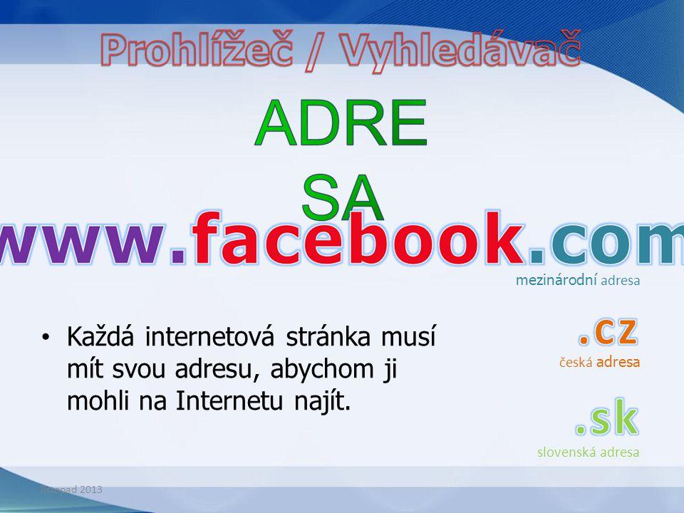 Každá internetová stránka musí mít svou adresu, abychom ji mohli na Internetu najít. mezinárodní adresa česká adresa slovenská adresa listopad 2013