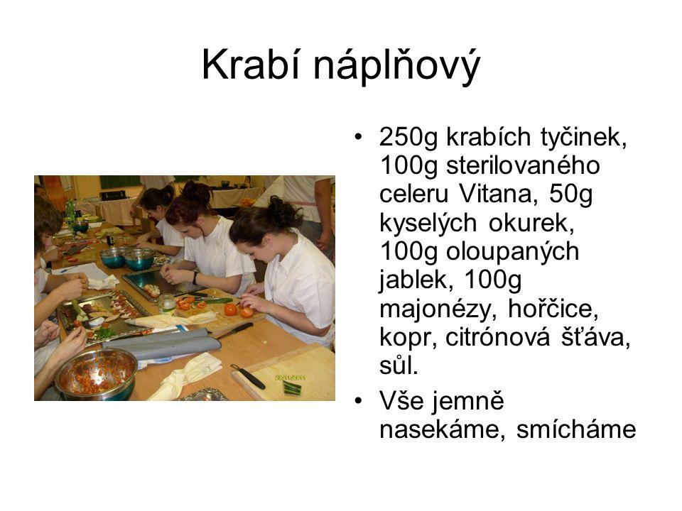 Krabí náplňový 250g krabích tyčinek, 100g sterilovaného celeru Vitana, 50g kyselých okurek, 100g oloupaných jablek, 100g majonézy, hořčice, kopr, citr