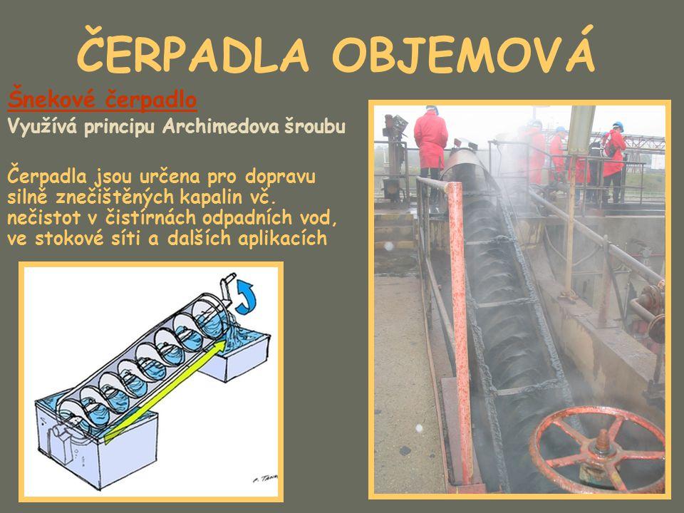 ČERPADLA OBJEMOVÁ Šnekové čerpadlo Využívá principu Archimedova šroubu Čerpadla jsou určena pro dopravu silně znečištěných kapalin vč. nečistot v čist