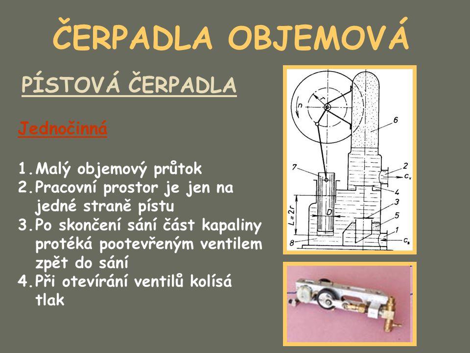 ČERPADLA OBJEMOVÁ PÍSTOVÁ ČERPADLA Jednočinná 1.Malý objemový průtok 2.Pracovní prostor je jen na jedné straně pístu 3.Po skončení sání část kapaliny