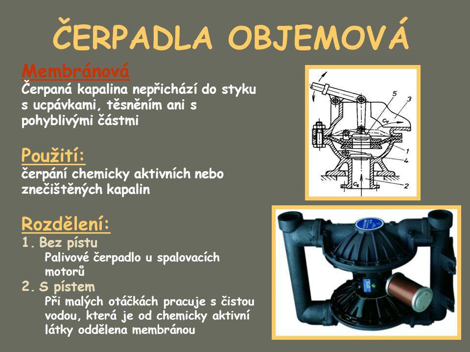 ČERPADLA OBJEMOVÁ Zubová Výhody: Konstrukčně a technologicky nejednodušší Provozně nejspolehlivější Nenáročné na údržbu Nejrozšířenější čerpadlo s konstantním průtokem Obvykle je složeno z páru ozubených kol s přímým nebo šikmým ozubením Jedno s kol je spojeno s hnacím motorem Čerpaná kapalina je unášená po obvodě v zubových mezerách ozubených kol Rovnoměrnost průtoku závisí na počtu zubů (čím víc, tím rovnoměrnější průtok) Minimální počet 20 zubů Na jeho činnost má vliv viskozita kapaliny Druhy dopravované kapaliny uvádí výrobce