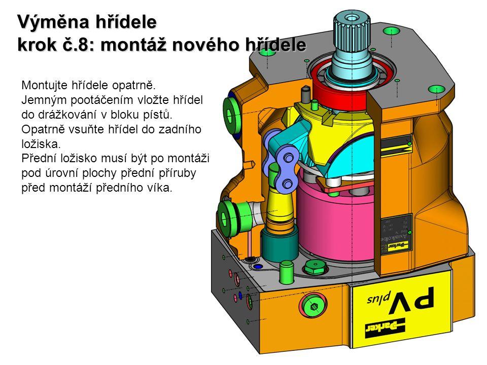 Výměna hřídele krok č.8: montáž nového hřídele Montujte hřídele opatrně. Jemným pootáčením vložte hřídel do drážkování v bloku pístů. Opatrně vsuňte h