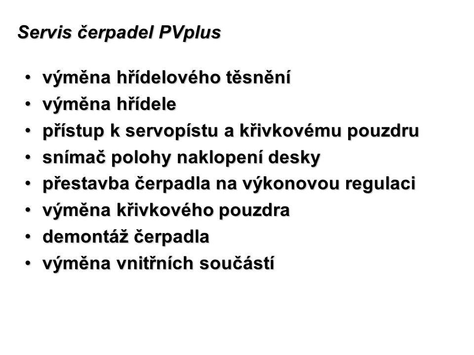 Servis čerpadel PVplus výměna hřídelového těsněnívýměna hřídelového těsnění výměna hřídelevýměna hřídele přístup k servopístu a křivkovému pouzdrupřís