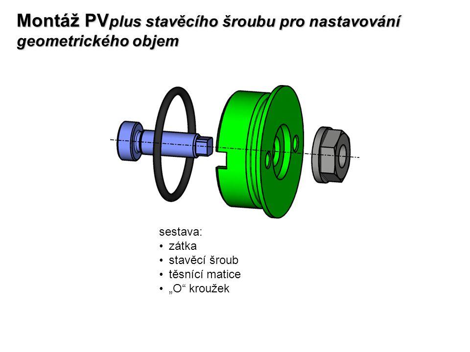 """Montáž PV plus stavěcího šroubu pro nastavování geometrického objem sestava: zátka stavěcí šroub těsnící matice """"O"""" kroužek"""