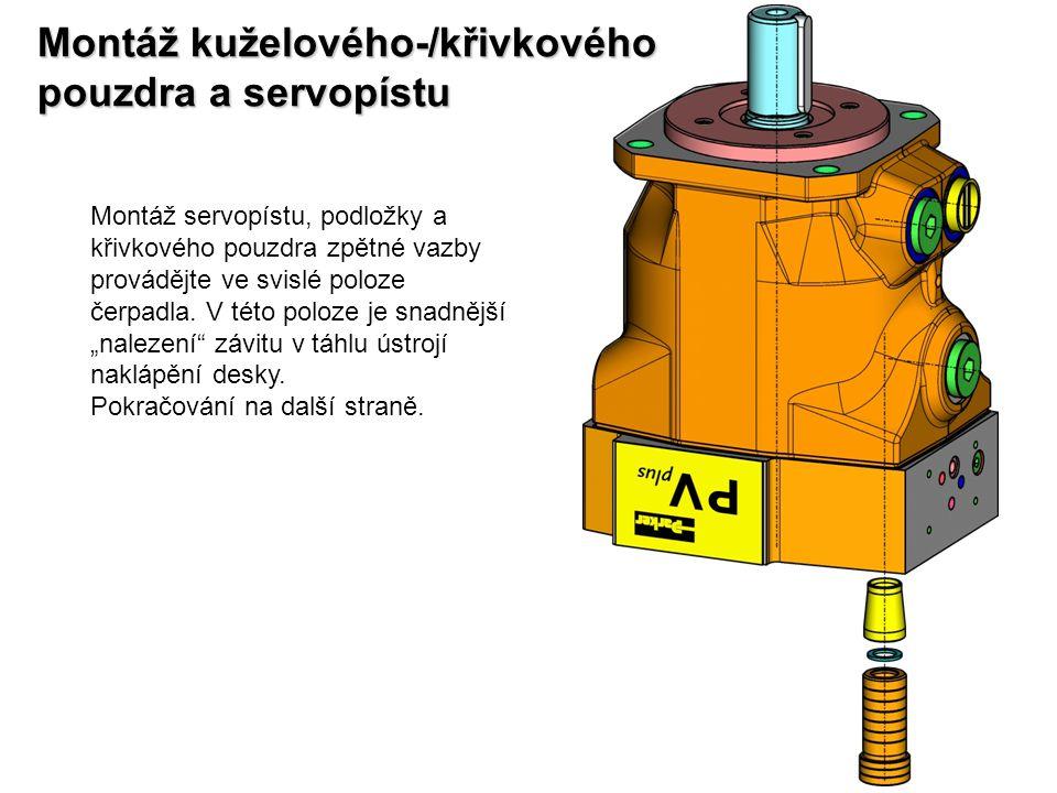 Montáž kuželového-/křivkového pouzdra a servopístu Montáž servopístu, podložky a křivkového pouzdra zpětné vazby provádějte ve svislé poloze čerpadla.
