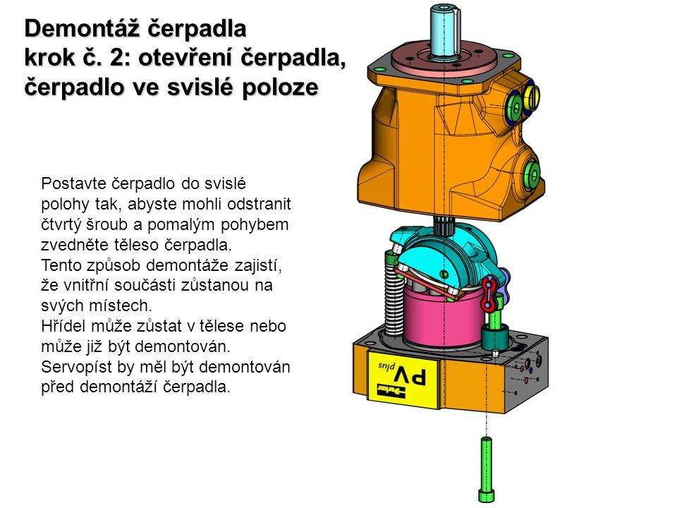 Demontáž čerpadla krok č. 2: otevření čerpadla, čerpadlo ve svislé poloze Postavte čerpadlo do svislé polohy tak, abyste mohli odstranit čtvrtý šroub