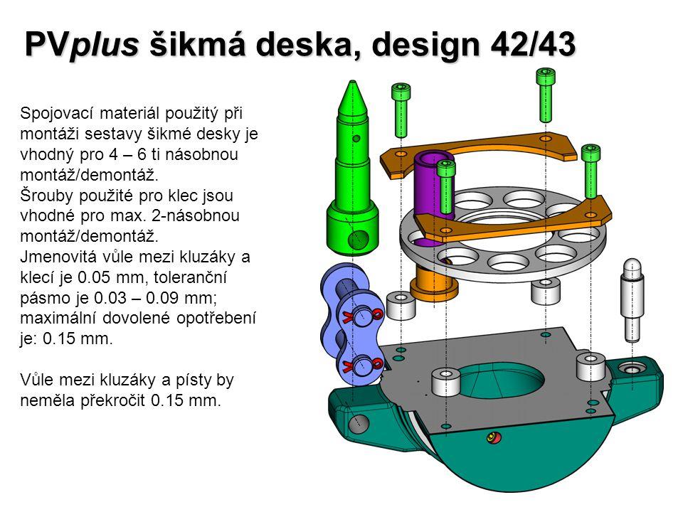 PVplus šikmá deska, design 42/43 Spojovací materiál použitý při montáži sestavy šikmé desky je vhodný pro 4 – 6 ti násobnou montáž/demontáž. Šrouby po