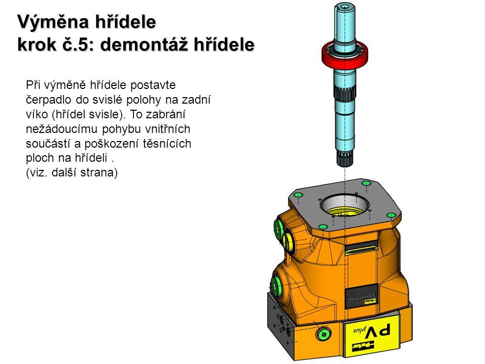 Výměna hřídele krok č.6: demontáž hřídele Při ustavení čerpadla do této polohy všechny vnitřní součásti čerpadla zůstanou na svých místech.