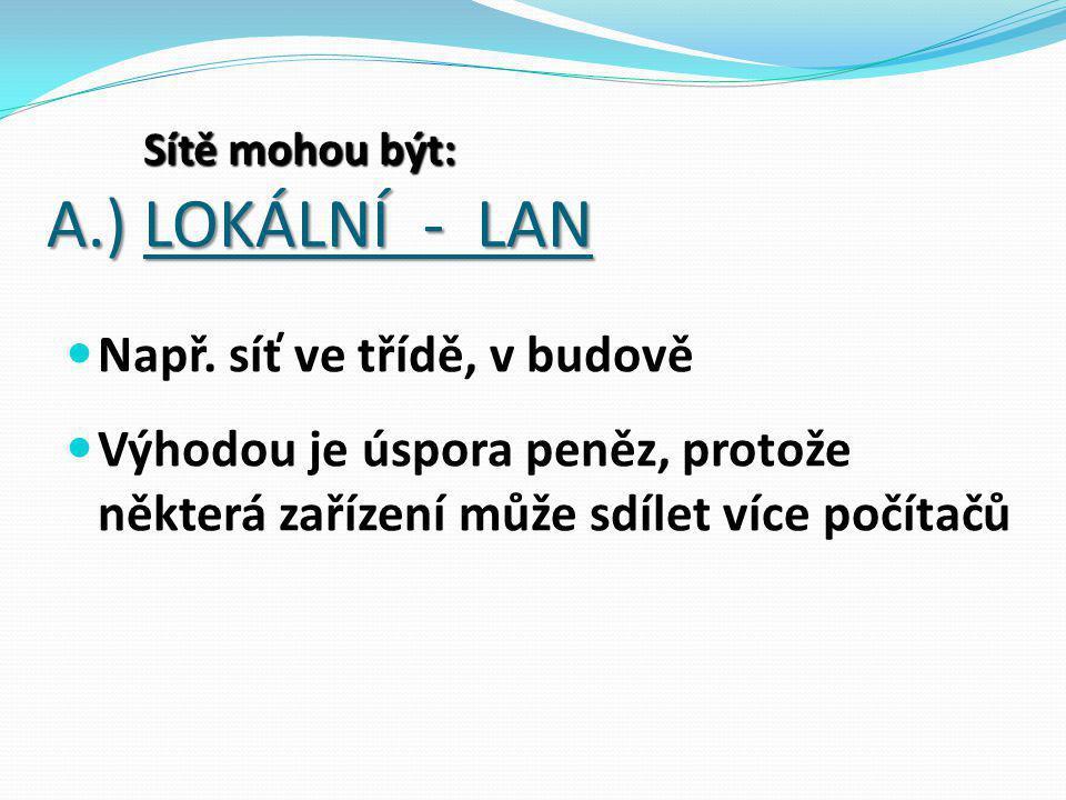 A.) LOKÁLNÍ - LAN Např.