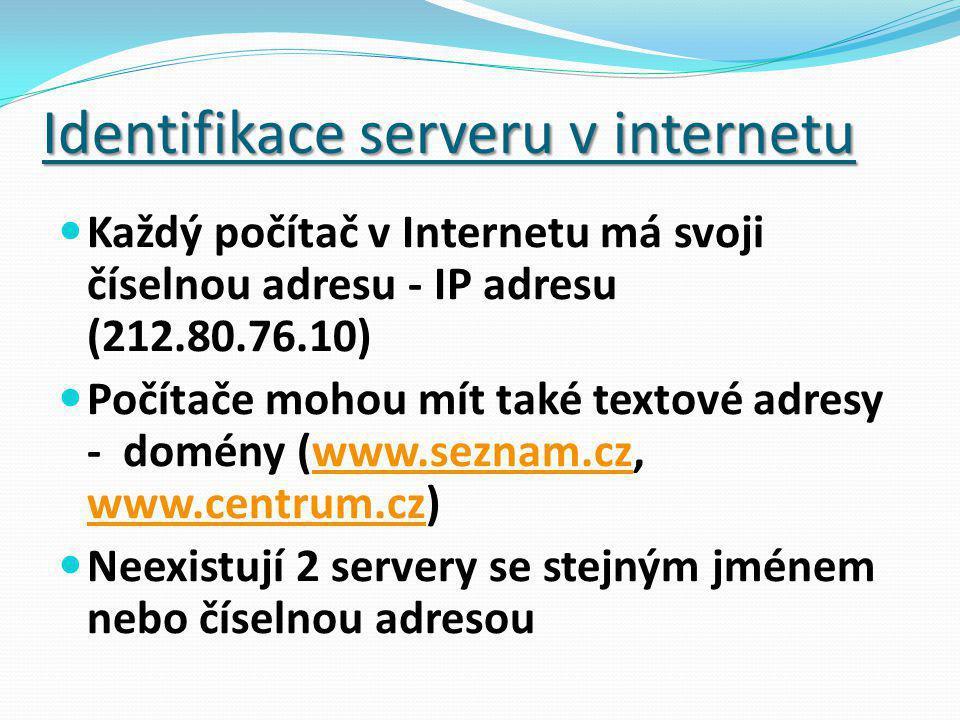 Identifikace serveru v internetu Každý počítač v Internetu má svoji číselnou adresu - IP adresu (212.80.76.10) Počítače mohou mít také textové adresy