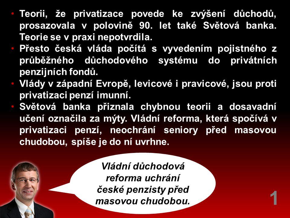 Vládní důchodová reforma uchrání české penzisty před masovou chudobou.