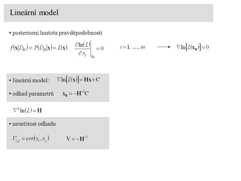 Lineární model posteriorní hustota pravděpodobnosti lineární model: odhad parametrů neurčitost odhadu