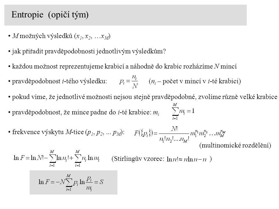 M možných výsledků (x 1, x 2, …x M ) jak přiřadit pravděpodobnosti jednotlivým výsledkům.