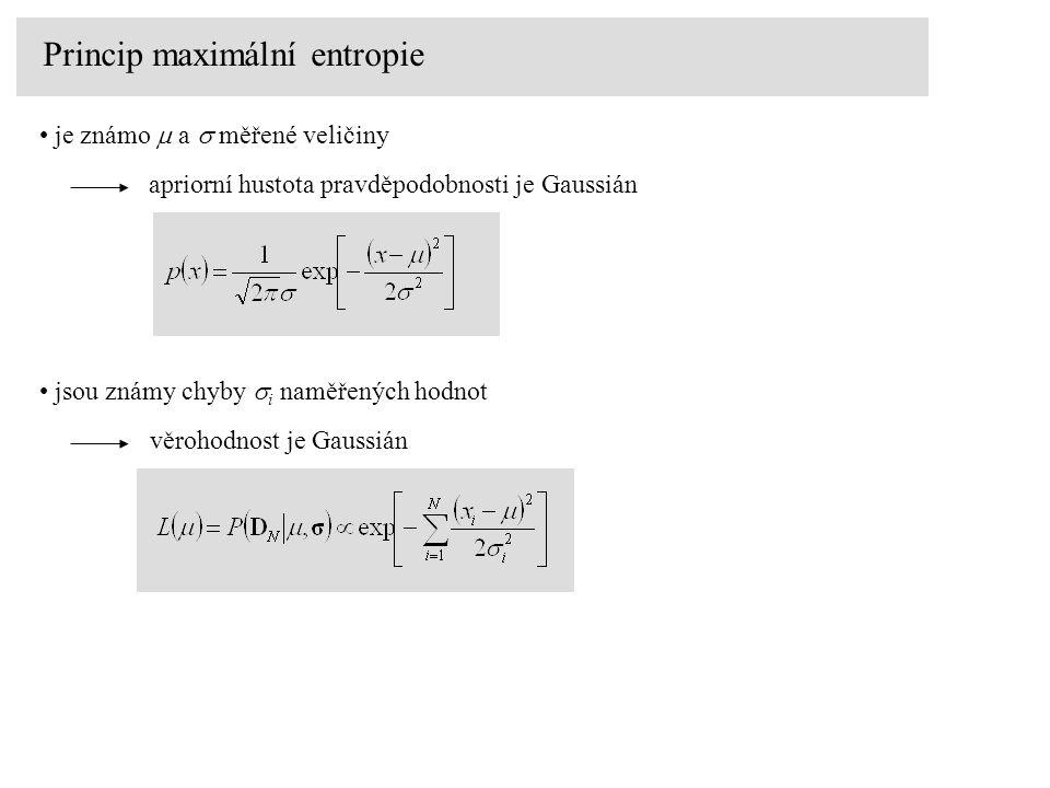Princip maximální entropie je známo  a  měřené veličiny apriorní hustota pravděpodobnosti je Gaussián jsou známy chyby  i naměřených hodnot věrohod