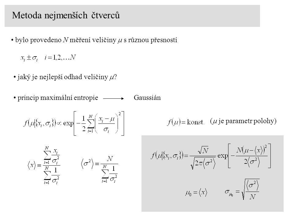 Metoda nejmenších čtverců bylo provedeno N měření veličiny  s různou přesností jaký je nejlepší odhad veličiny  ? princip maximální entropie Gaussiá