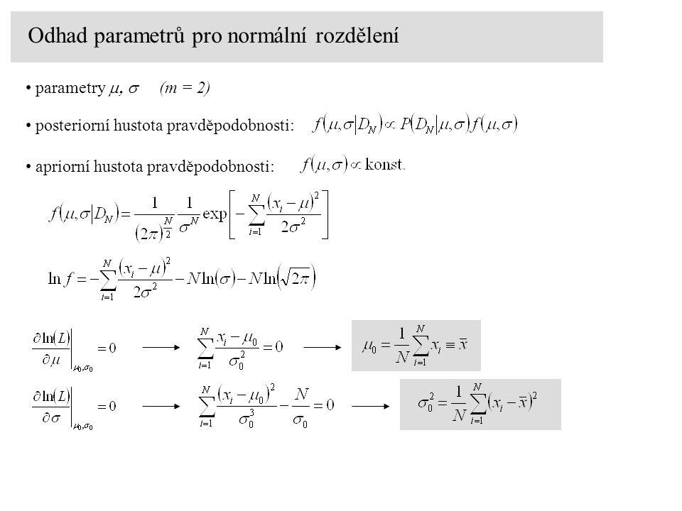 Odhad parametrů pro normální rozdělení parametry  (m = 2) posteriorní hustota pravděpodobnosti: apriorní hustota pravděpodobnosti: