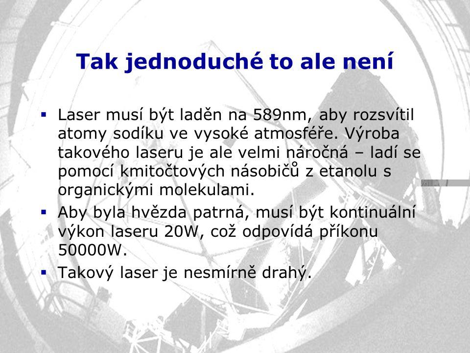 Tak jednoduché to ale není  Laser musí být laděn na 589nm, aby rozsvítil atomy sodíku ve vysoké atmosféře. Výroba takového laseru je ale velmi náročn