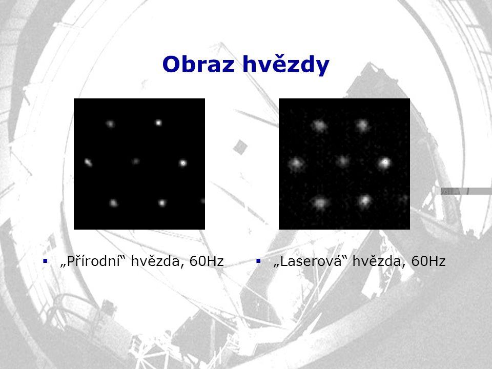 """Obraz hvězdy  """"Přírodní"""" hvězda, 60Hz  """"Laserová"""" hvězda, 60Hz"""