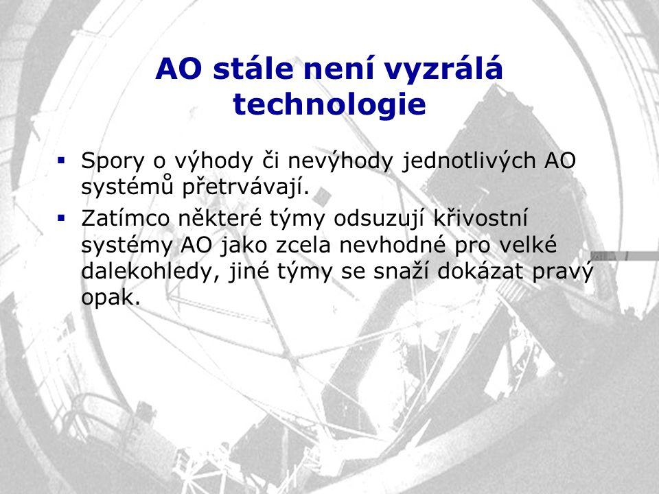 AO stále není vyzrálá technologie  Spory o výhody či nevýhody jednotlivých AO systémů přetrvávají.  Zatímco některé týmy odsuzují křivostní systémy