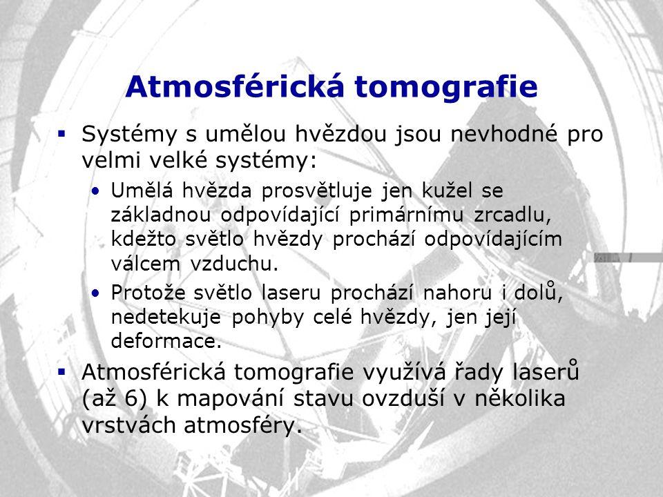 Atmosférická tomografie  Systémy s umělou hvězdou jsou nevhodné pro velmi velké systémy: Umělá hvězda prosvětluje jen kužel se základnou odpovídající