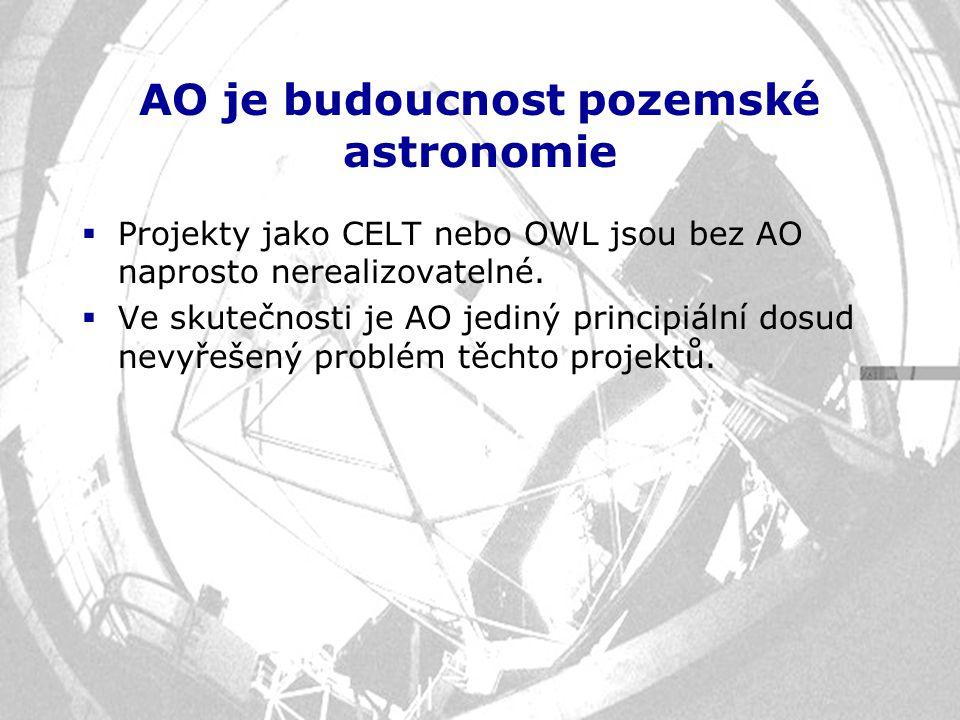 AO je budoucnost pozemské astronomie  Projekty jako CELT nebo OWL jsou bez AO naprosto nerealizovatelné.  Ve skutečnosti je AO jediný principiální d