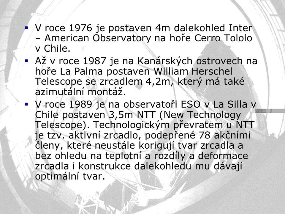  V roce 1976 je postaven 4m dalekohled Inter – American Observatory na hoře Cerro Tololo v Chile.  Až v roce 1987 je na Kanárských ostrovech na hoře