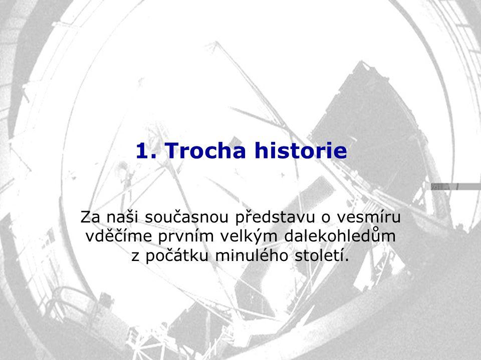 1. Trocha historie Za naši současnou představu o vesmíru vděčíme prvním velkým dalekohledům z počátku minulého století.