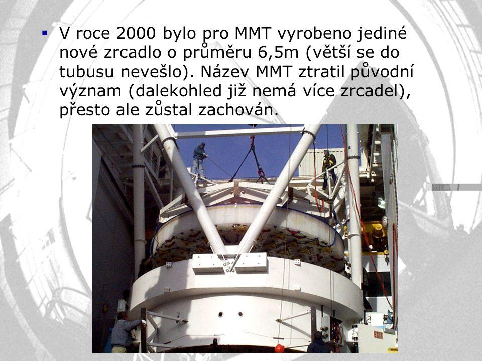  V roce 2000 bylo pro MMT vyrobeno jediné nové zrcadlo o průměru 6,5m (větší se do tubusu nevešlo). Název MMT ztratil původní význam (dalekohled již