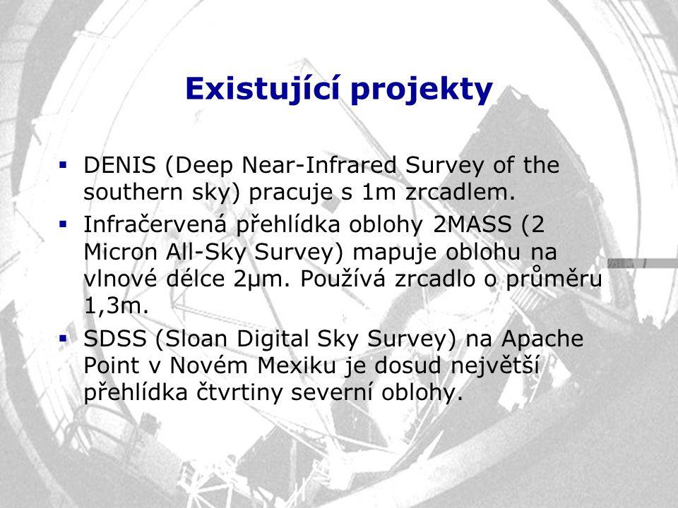 Existující projekty  DENIS (Deep Near-Infrared Survey of the southern sky) pracuje s 1m zrcadlem.  Infračervená přehlídka oblohy 2MASS (2 Micron All