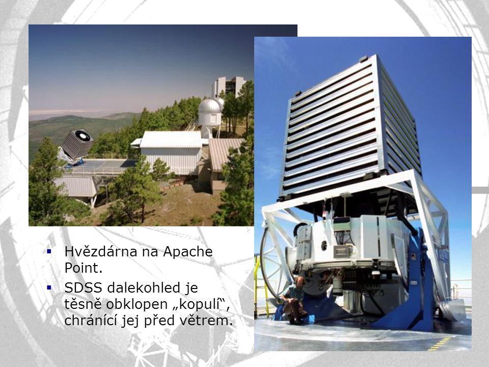 """ Hvězdárna na Apache Point.  SDSS dalekohled je těsně obklopen """"kopulí"""", chránící jej před větrem."""