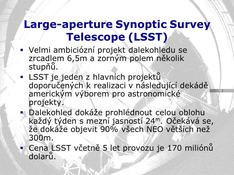 Large-aperture Synoptic Survey Telescope (LSST)  Velmi ambiciózní projekt dalekohledu se zrcadlem 6,5m a zorným polem několik stupňů.  LSST je jeden