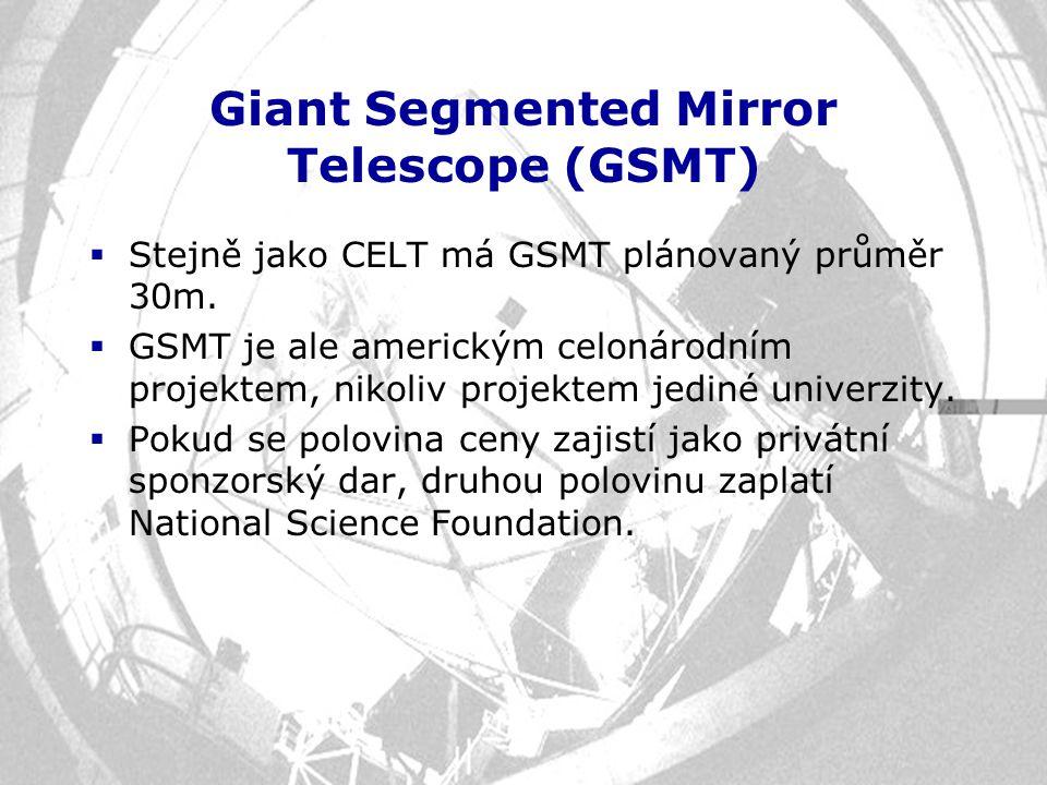 Giant Segmented Mirror Telescope (GSMT)  Stejně jako CELT má GSMT plánovaný průměr 30m.  GSMT je ale americkým celonárodním projektem, nikoliv proje