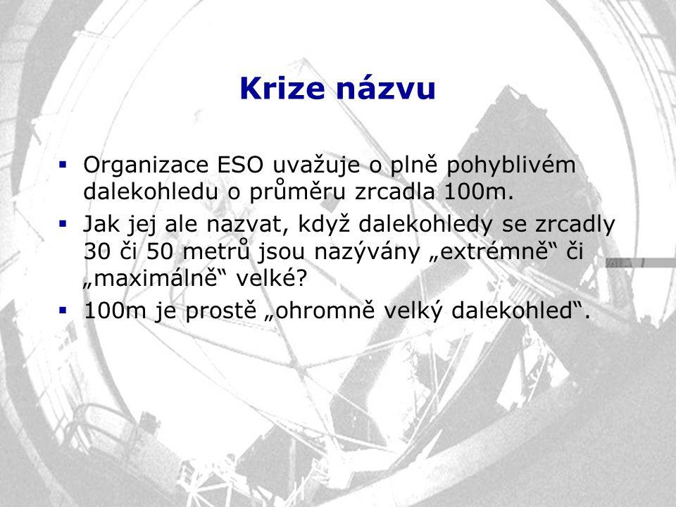 Krize názvu  Organizace ESO uvažuje o plně pohyblivém dalekohledu o průměru zrcadla 100m.  Jak jej ale nazvat, když dalekohledy se zrcadly 30 či 50