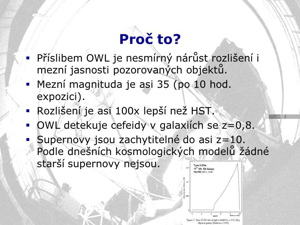 Proč to?  Příslibem OWL je nesmírný nárůst rozlišení i mezní jasnosti pozorovaných objektů.  Mezní magnituda je asi 35 (po 10 hod. expozici).  Rozl