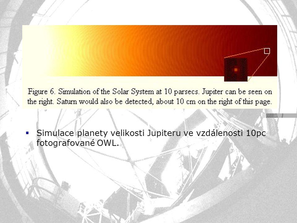  Simulace planety velikosti Jupiteru ve vzdálenosti 10pc fotografované OWL.