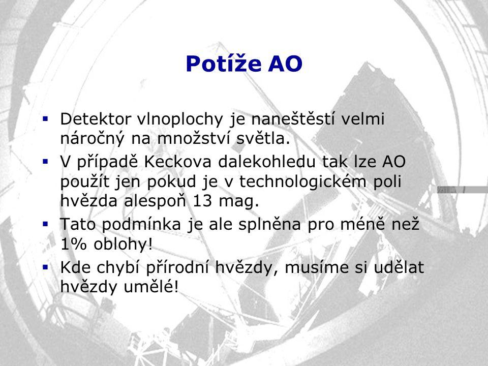 Potíže AO  Detektor vlnoplochy je naneštěstí velmi náročný na množství světla.  V případě Keckova dalekohledu tak lze AO použít jen pokud je v techn