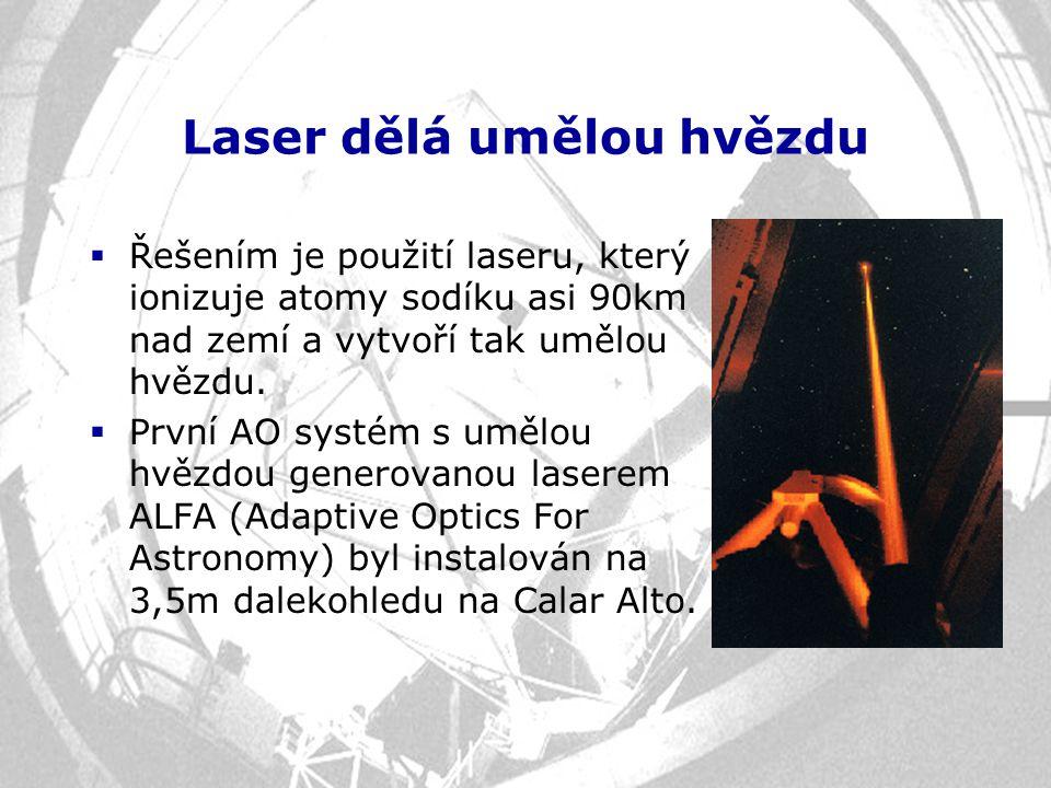 Laser dělá umělou hvězdu  Řešením je použití laseru, který ionizuje atomy sodíku asi 90km nad zemí a vytvoří tak umělou hvězdu.  První AO systém s u