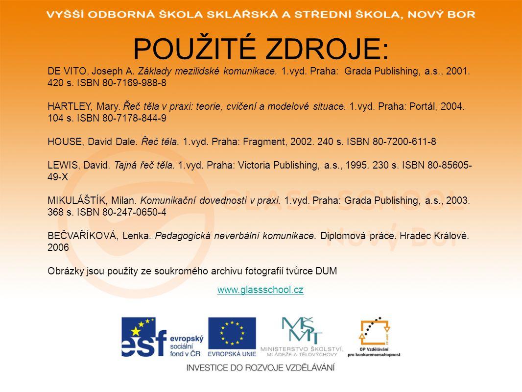 POUŽITÉ ZDROJE: www.glassschool.cz DE VITO, Joseph A.
