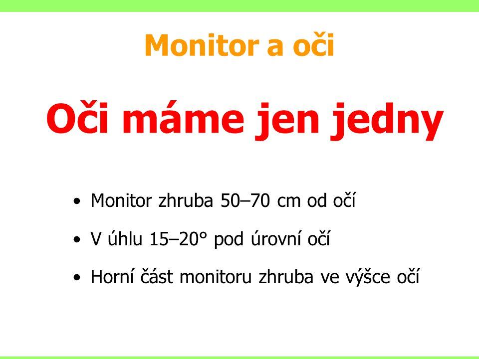 Monitor zhruba 50–70 cm od očí V úhlu 15–20° pod úrovní očí Horní část monitoru zhruba ve výšce očí Monitor a oči Oči máme jen jedny