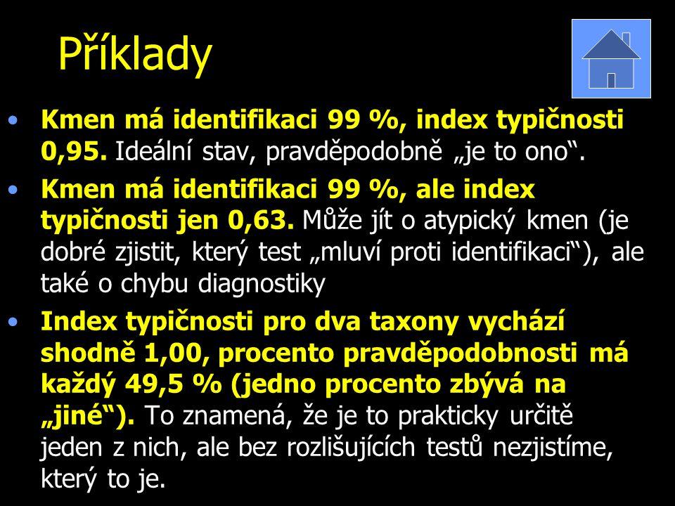 """Příklady Kmen má identifikaci 99 %, index typičnosti 0,95. Ideální stav, pravděpodobně """"je to ono"""". Kmen má identifikaci 99 %, ale index typičnosti je"""